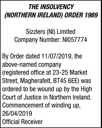 SIZZLERS (NI) LIMITED