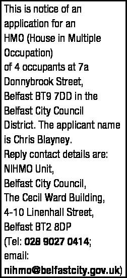 HMO NOTICE - Legal Notices in Northern Ireland