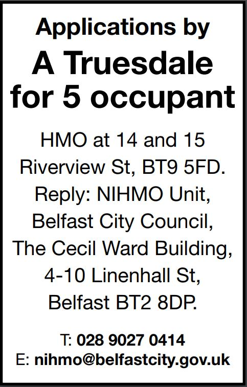 Applications by A Truesdale for 5 occupant