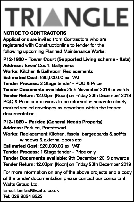 TRIANGLE - NOTICE TO CONTRACTORS