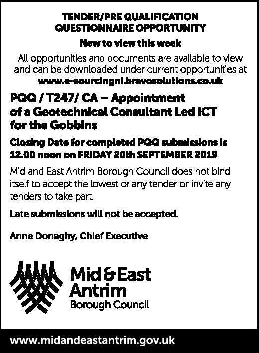 Tender/Pre Qualification Questionnaire Opportunity - Public Notices in Northern Ireland