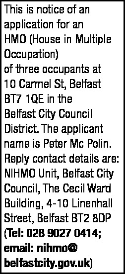 HMO - Legal Notices in Northern Ireland
