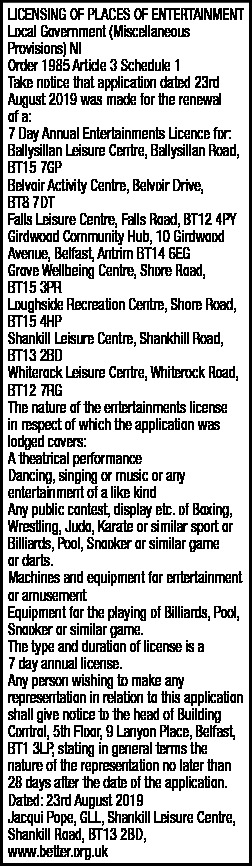 LICENSING OF PLACES OF ENTERTAINMENT  - Legal Notices in Northern Ireland