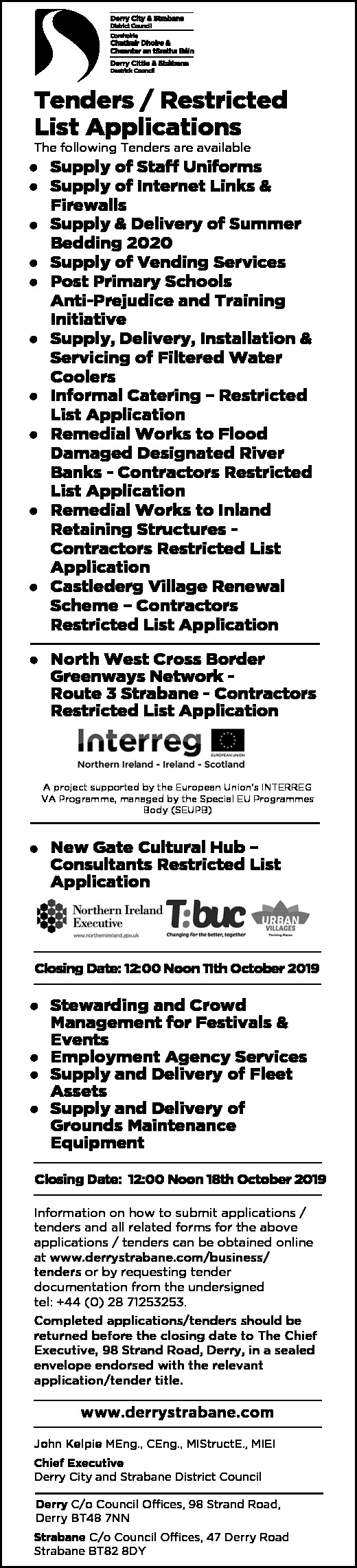 Derry City & Strabane District Council - Tenders/Restricted List Applications - Contracts & Tenders in Northern Ireland