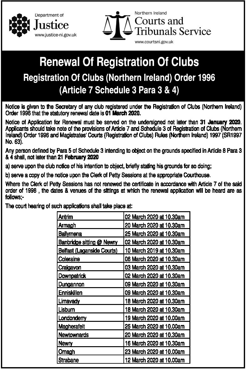 RENEWAL REGISTRATION OF CLUBS