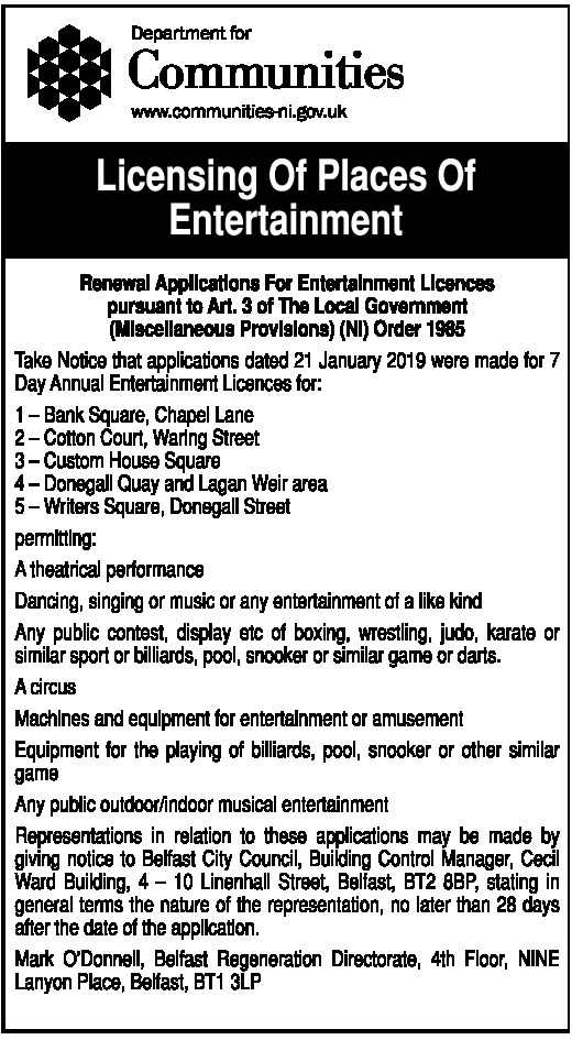 LICENSING OF PLACES OF ENTERTAINMENTS