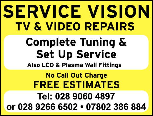 SERVICE VISION- TV & VIDEO REPAIRS