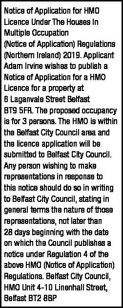 6 LAGANVALE STREET HMO