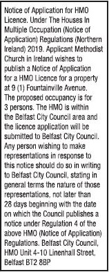 Notice of Application for HMO Licence.