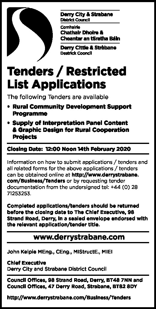TENDER/RESTRICTED LIST APPLICATIONS