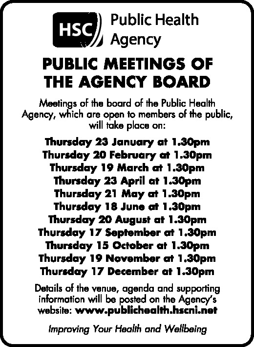 PUBLIC HEALTH AGENCY - PUBLIC MEETINGS