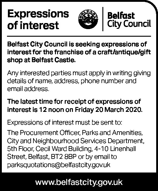 EXPRESSIONS OF INTEREST - BELFAST CITY COUNCIL