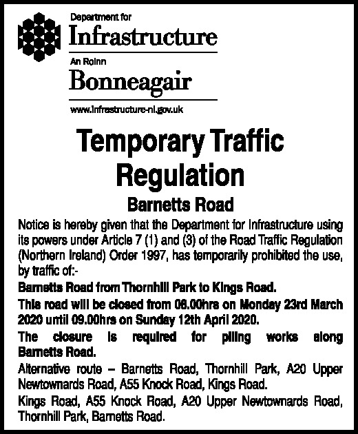 TEMPORARY TRAFFIC REGULATION