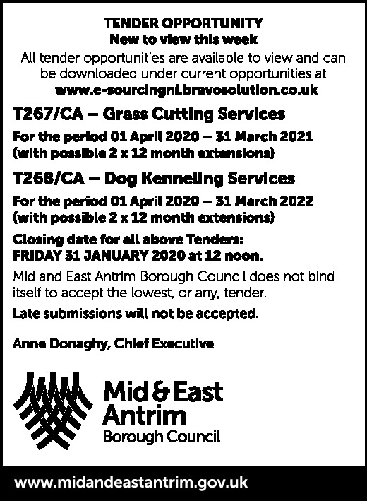 Mid & East Antrim Borough Council - Tender Opportunity