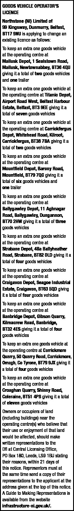 GOODS VEHICLE LICENCE