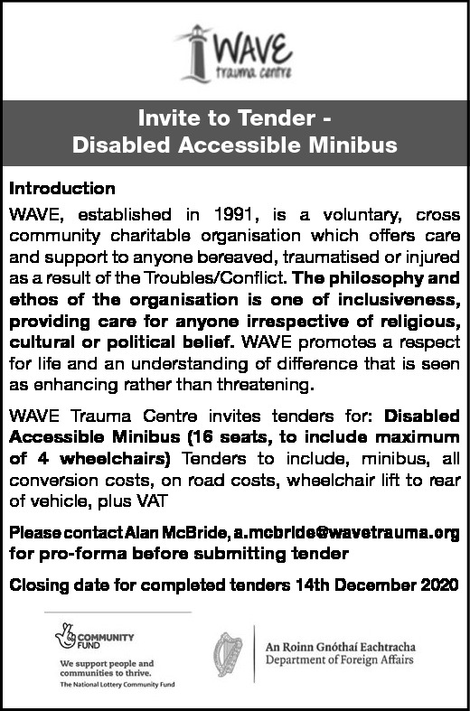 INVITE TO TENDER - DISABLED ACCESSIBLE MINIBUS