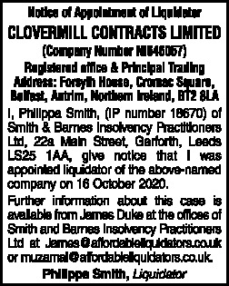 Clovermill Contracts Limited
