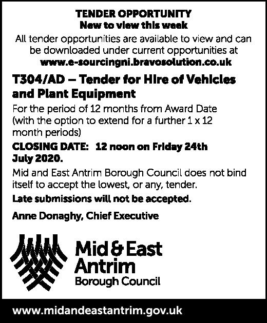 TENDER FOR VEHICLE HIRE