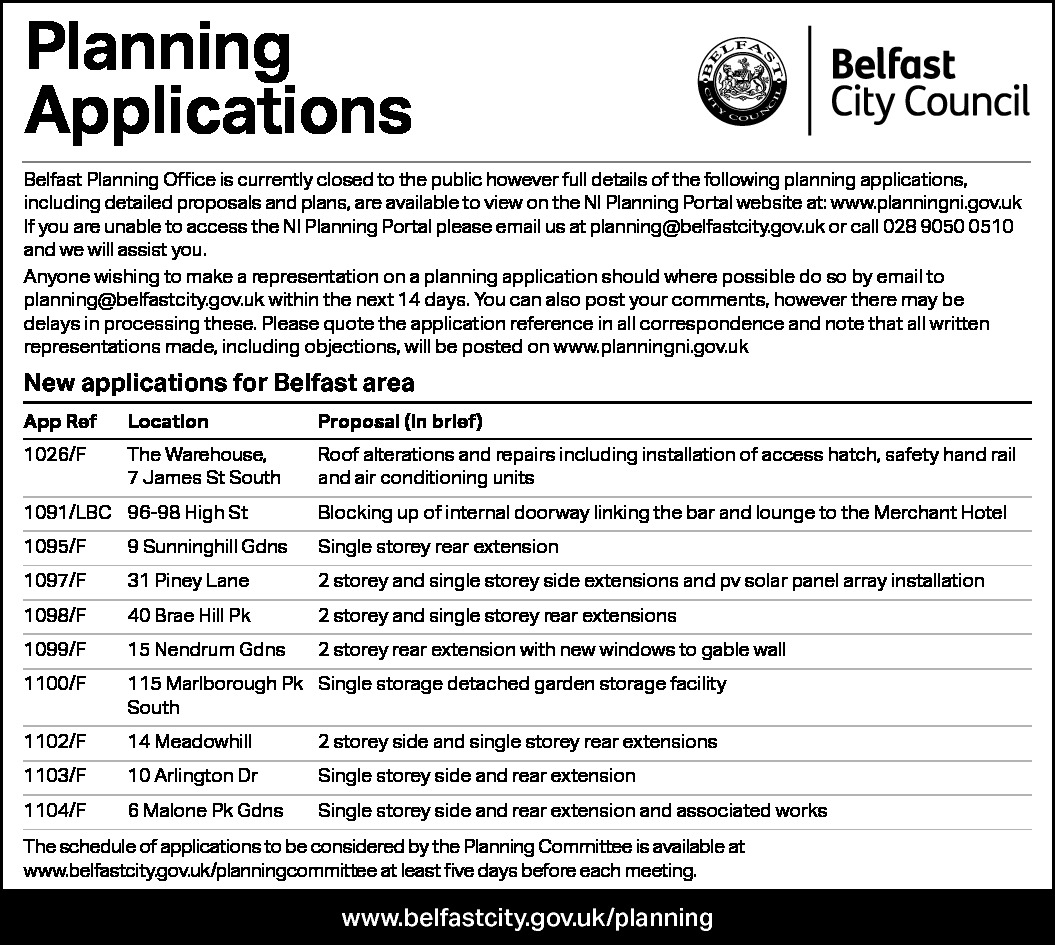 Planning Applications - Belfast City Council 03.07.2020