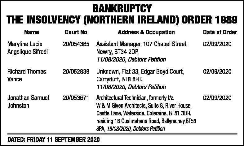 Bankruptcy Notice - Main Notice