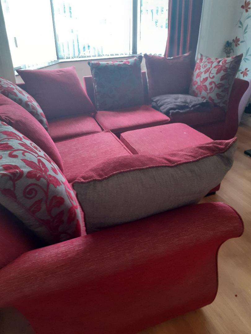 Red L-shaped sofa £300