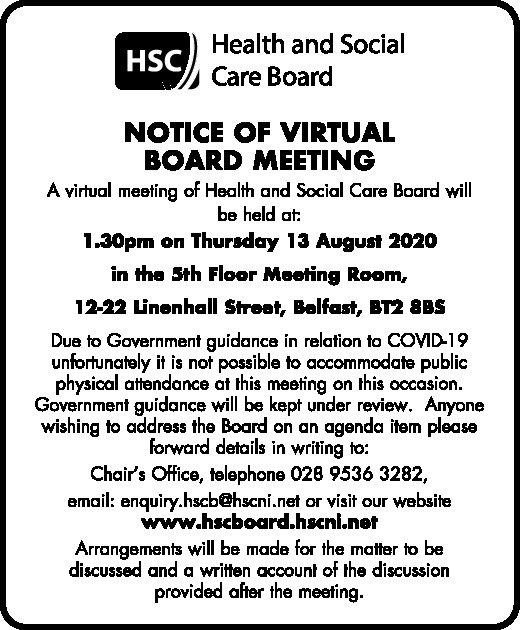 Notice of Virtual Board Meeting
