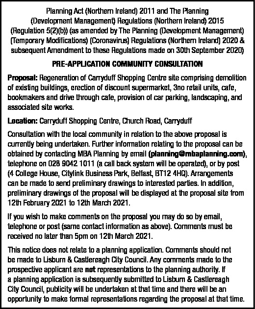 Carryduff Shopping Centre site