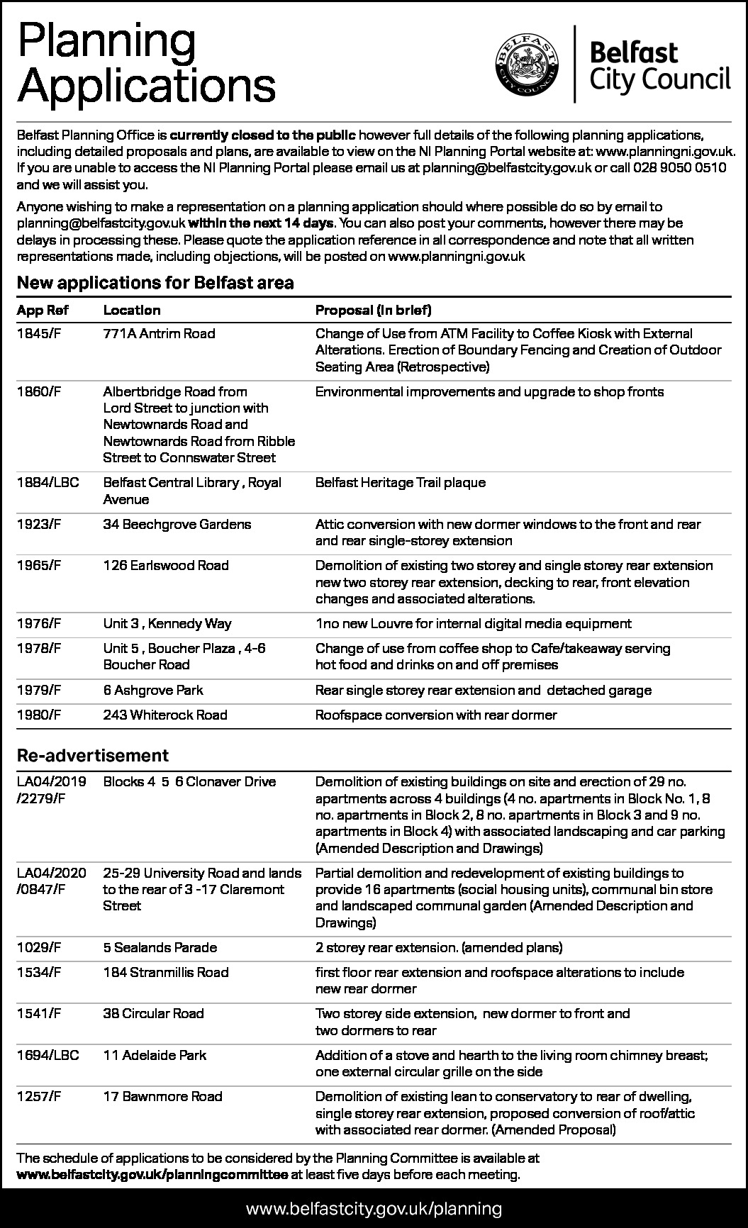 Belfast City Council - Planning Applications