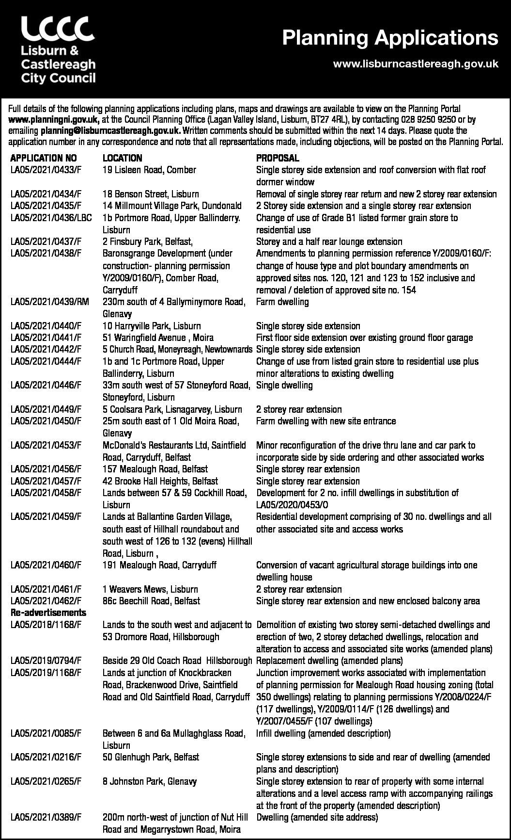Lisburn and Castlereagh City Council - Planning Applications
