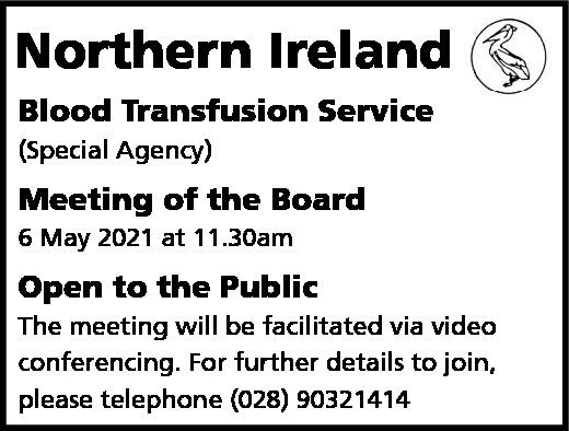 Northern Ireland Blood Transfusion Service - Board Meeting