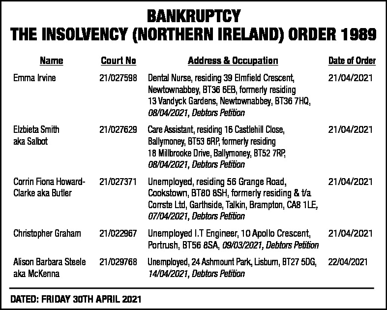 BANKRUPTCY THE INSOLVENCY (NORTHERN IRELAND) ORDER 1989