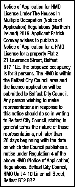 HMO Notice - 21 Lawrence Street