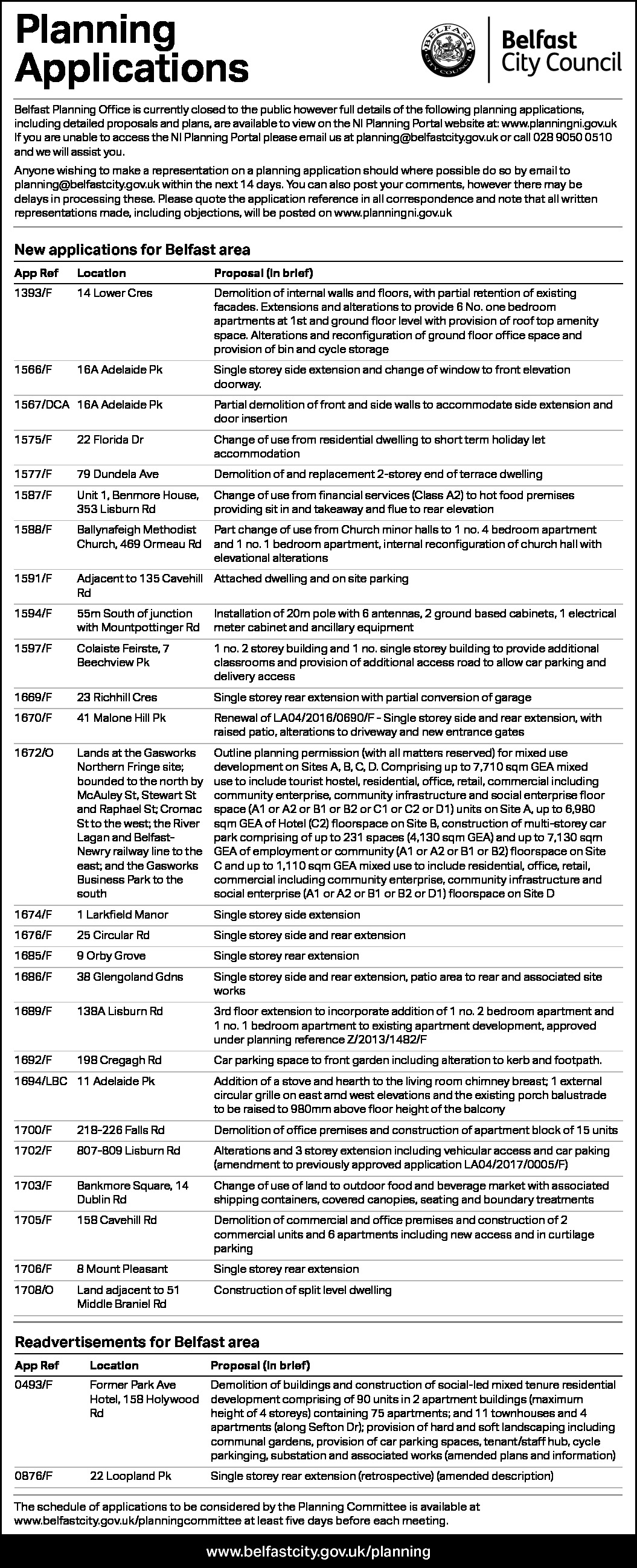 Belfast City Council Planning Applications