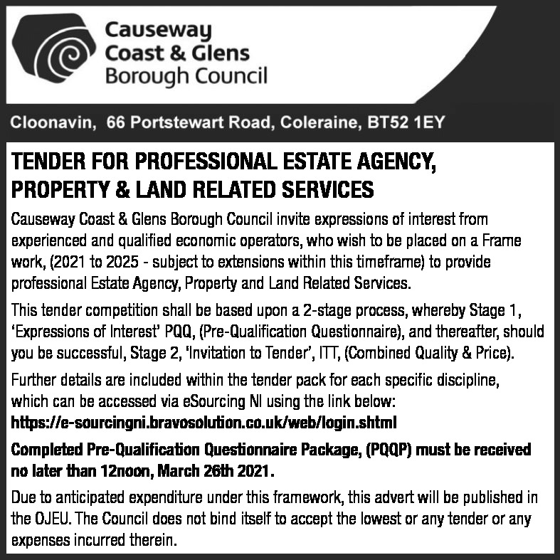 Tender For Professional Estate Agency, Property & Land Related Services