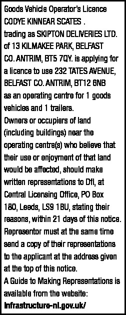 Goods Vehicle Operator's Licence