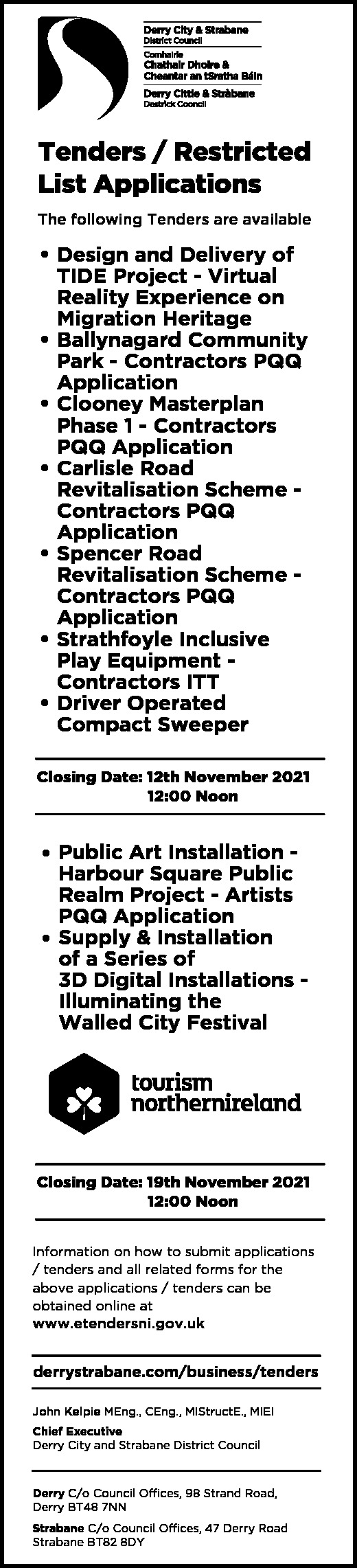 Derry City & Strabane District Council - Tenders/Restricted List Applications