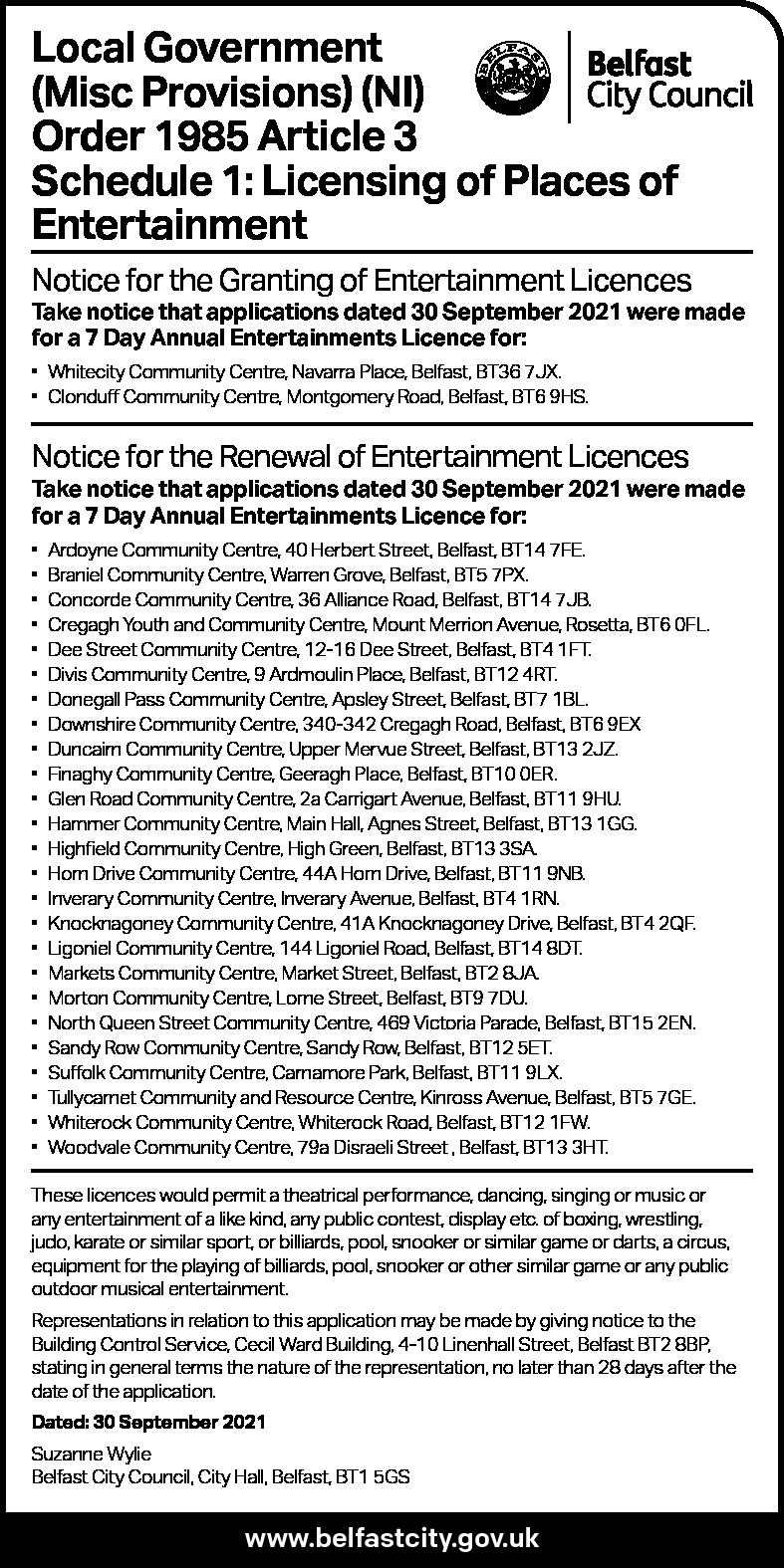 Licensing of Places of Entertainment