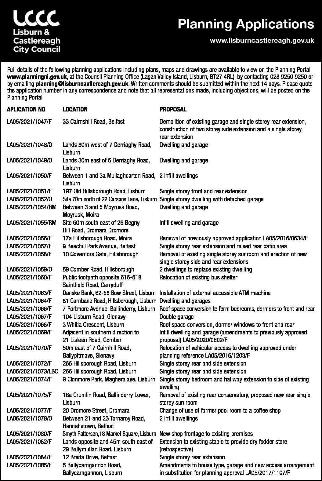 Lisburn & Castlereagh City Council - Planning Applications